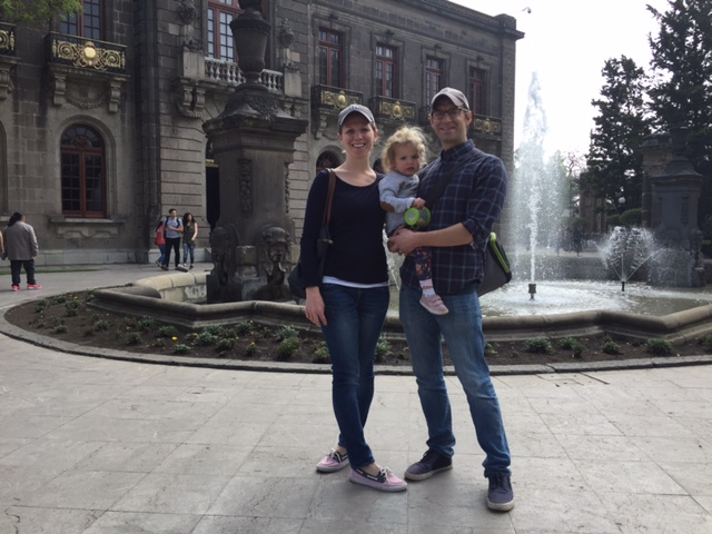 Amelia and her family in Mexico City