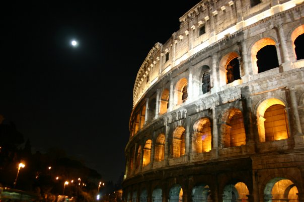 Colosseum with moon light