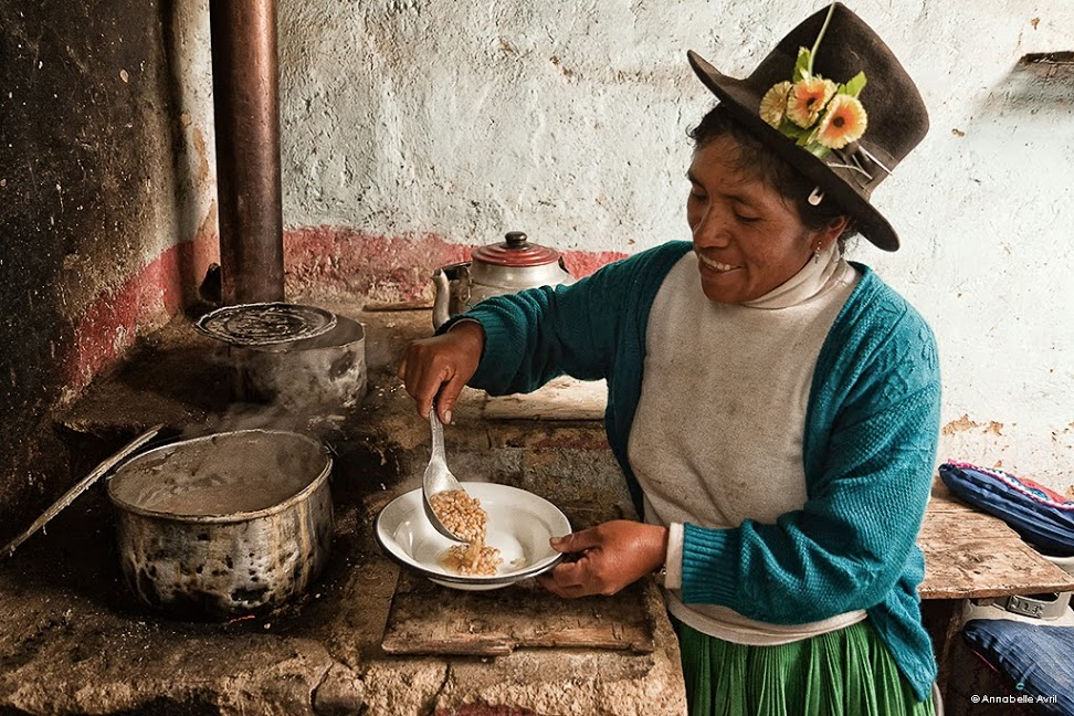woman pouring rice into a bowl