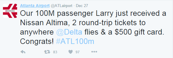 Screenshot of Tweet from ATL Airport