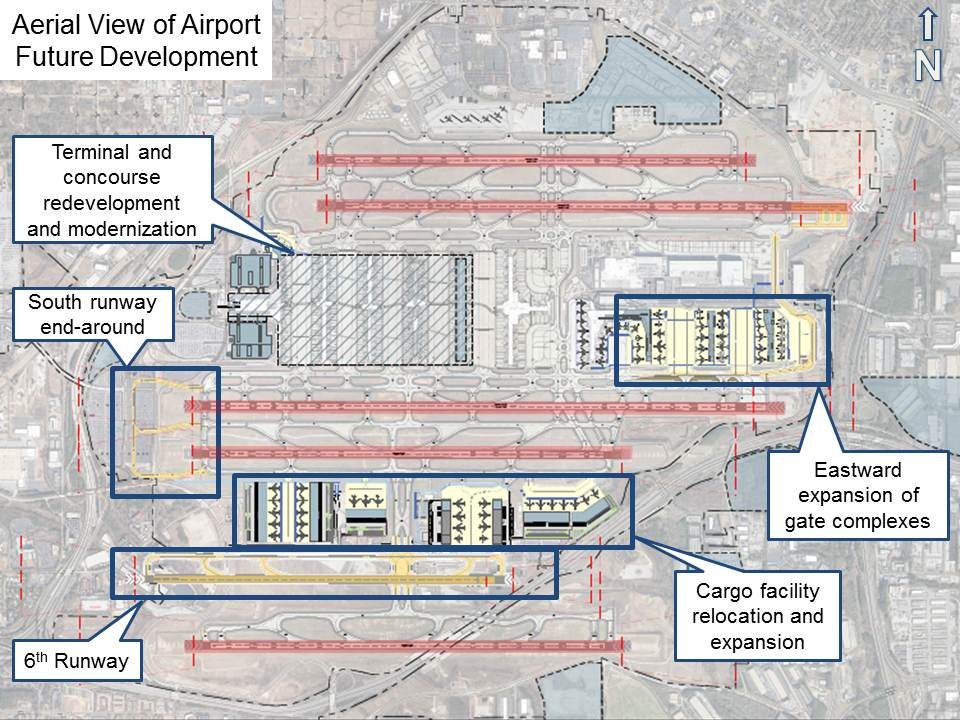 Aerial View of Airport Future Development drawn view
