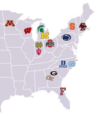 Map of the USA with Colleges selected