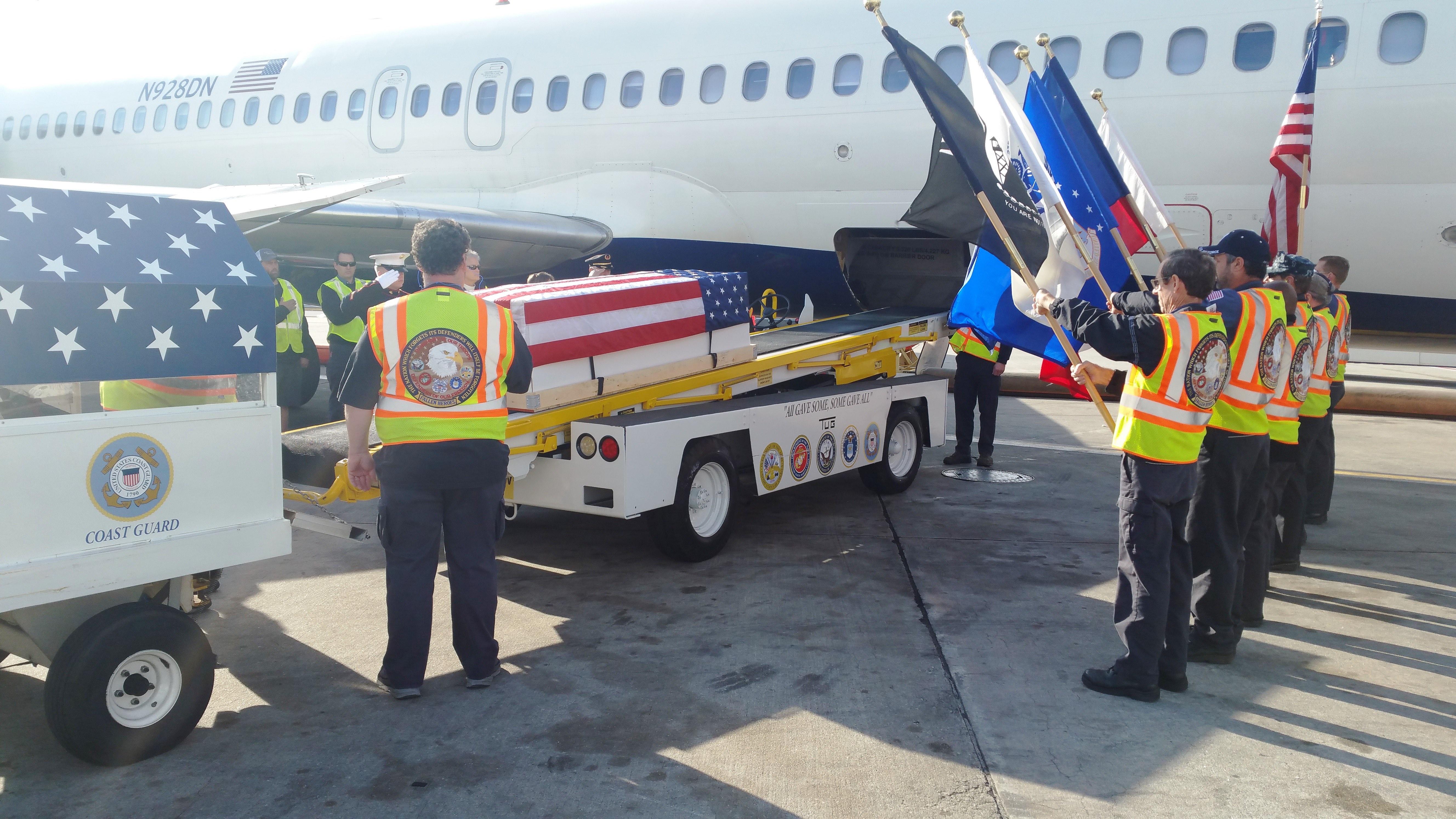 Delta Honor Guard carrying WW2 veteran home