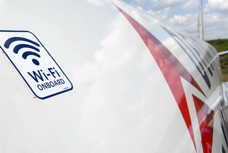 Wifi On board sign outside of plane
