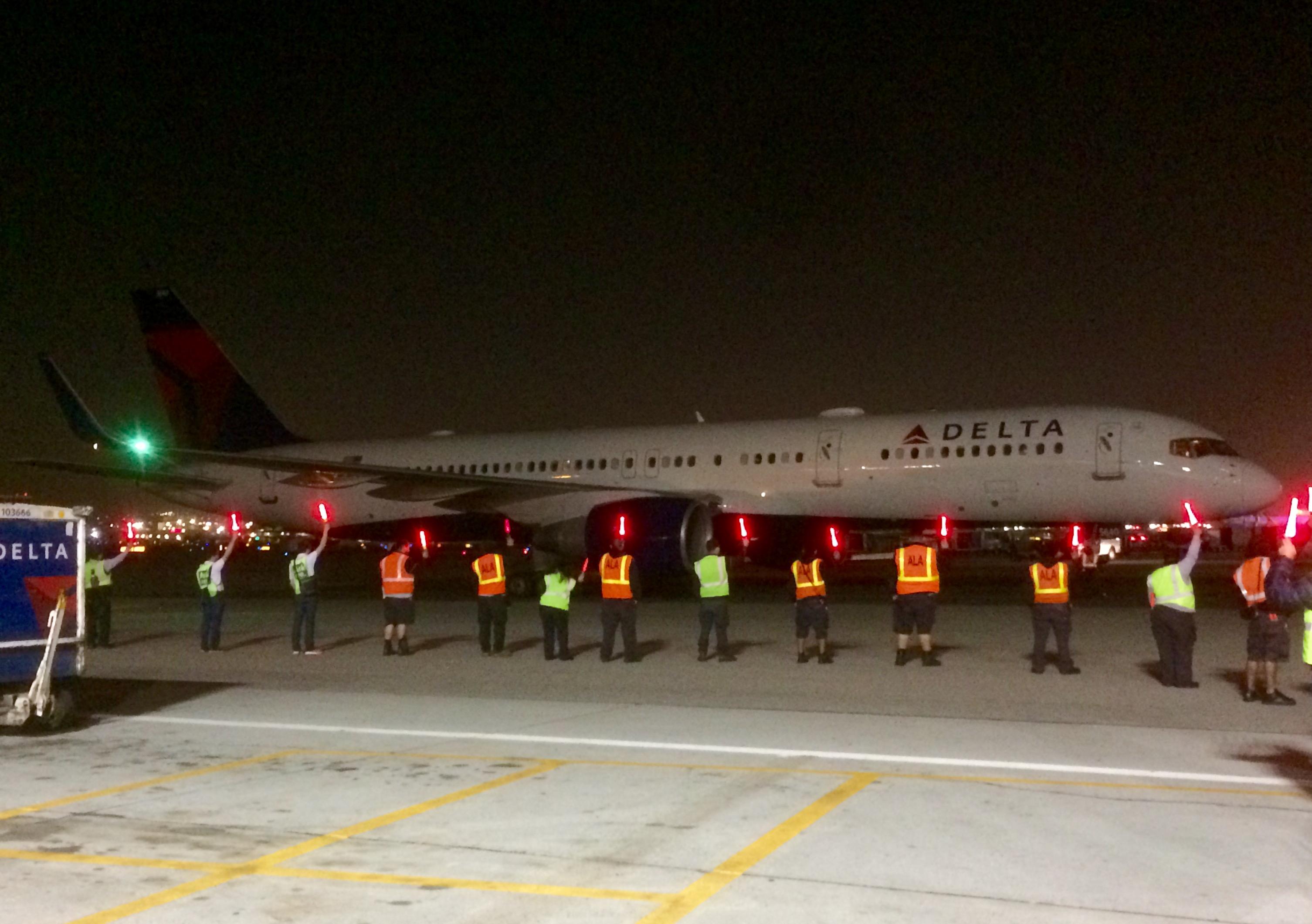 Delta flight arrives at LAX