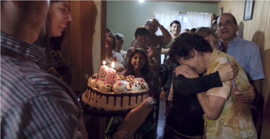 Birthday cake and people crying