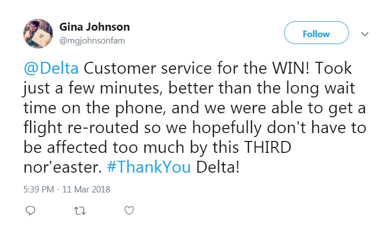 Customer Nor'easter Tweet