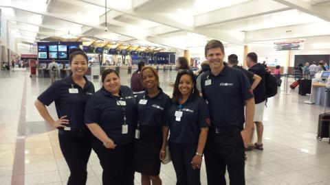 PeachCorps helpers at the airport