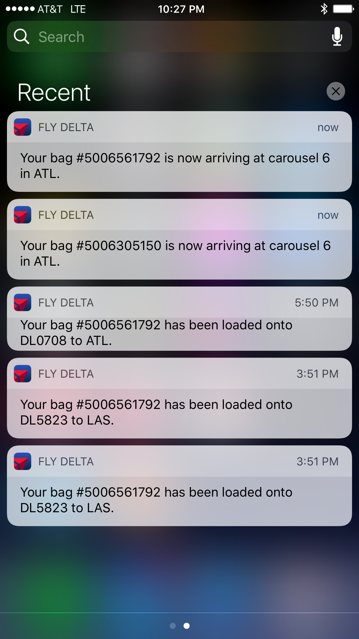 Delta RFID push notifications