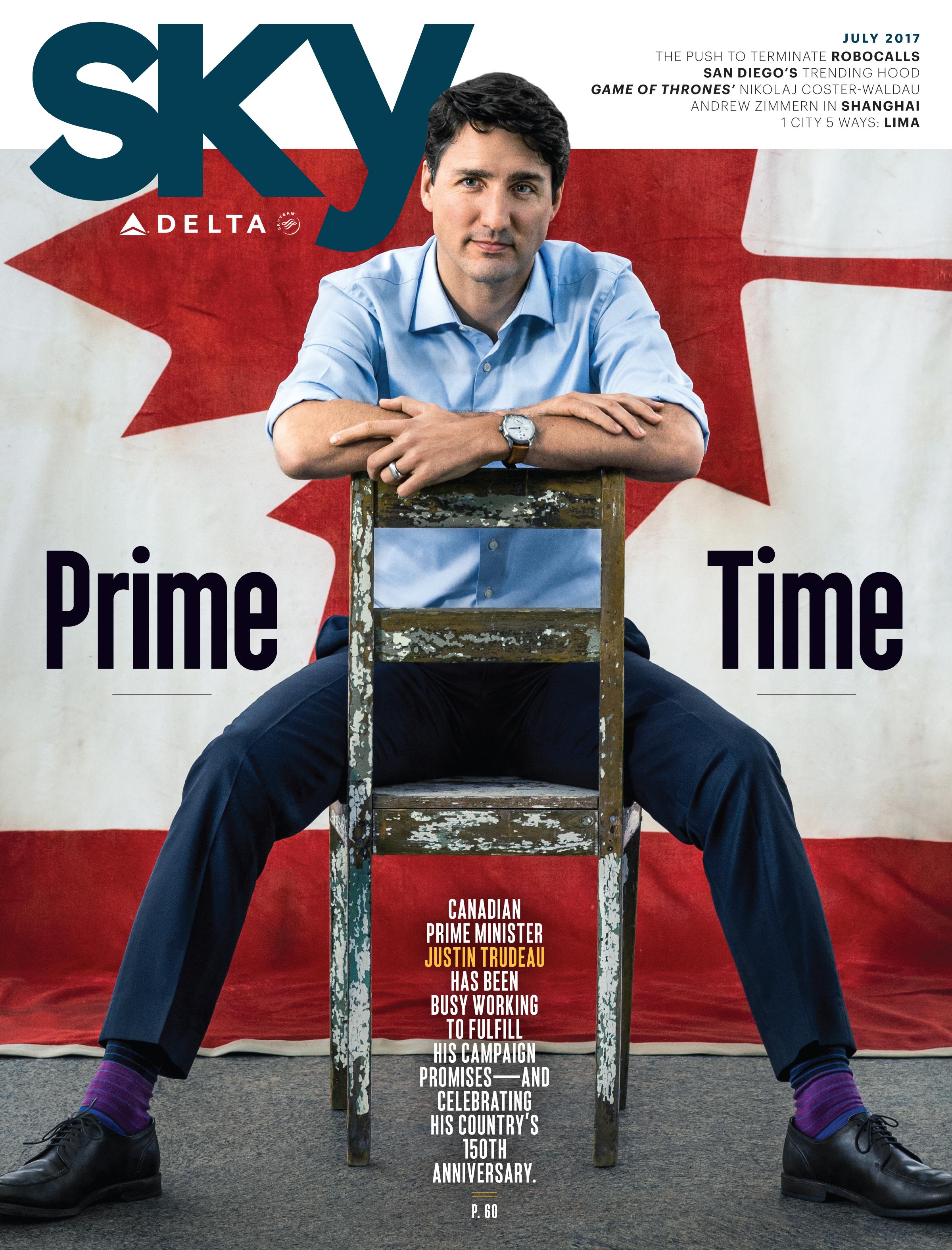 Delta Celebrates Canada's 150th Anniversary with Fare Sale; Prime Minister Trudeau July Sky Magazine Cover Story