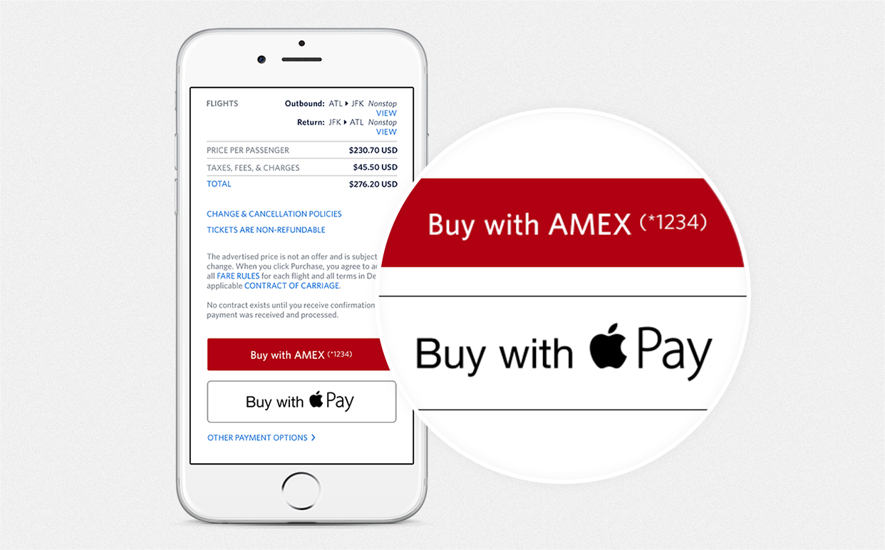 Buy with Apple Pay for AMEX on the Delta App Screenshot