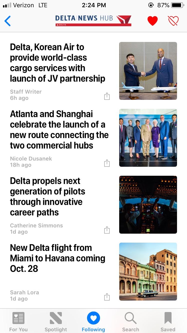 Screenshot of Delta News Hub on Apple News