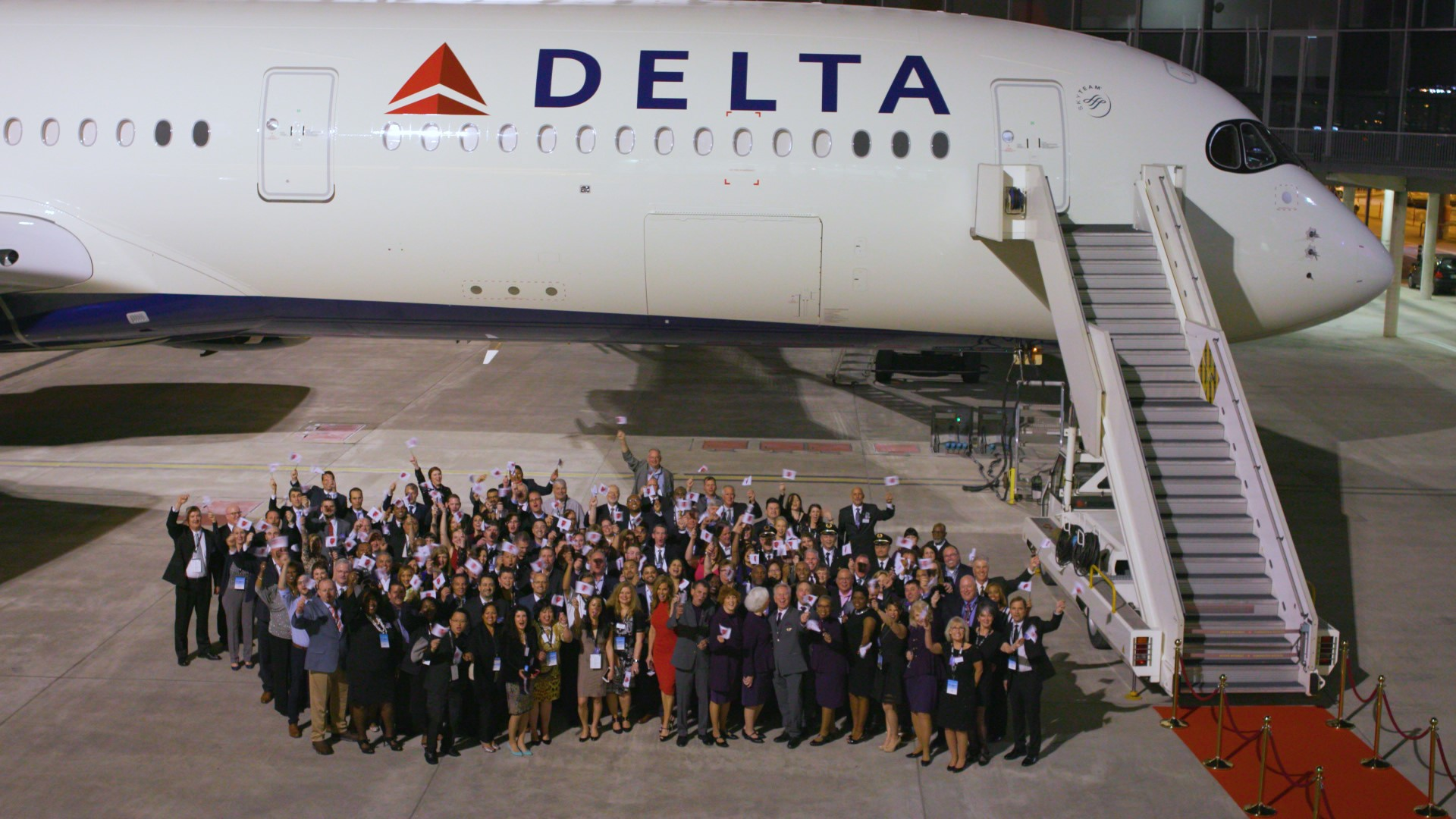 Chairman's Club Honorees in front of A350