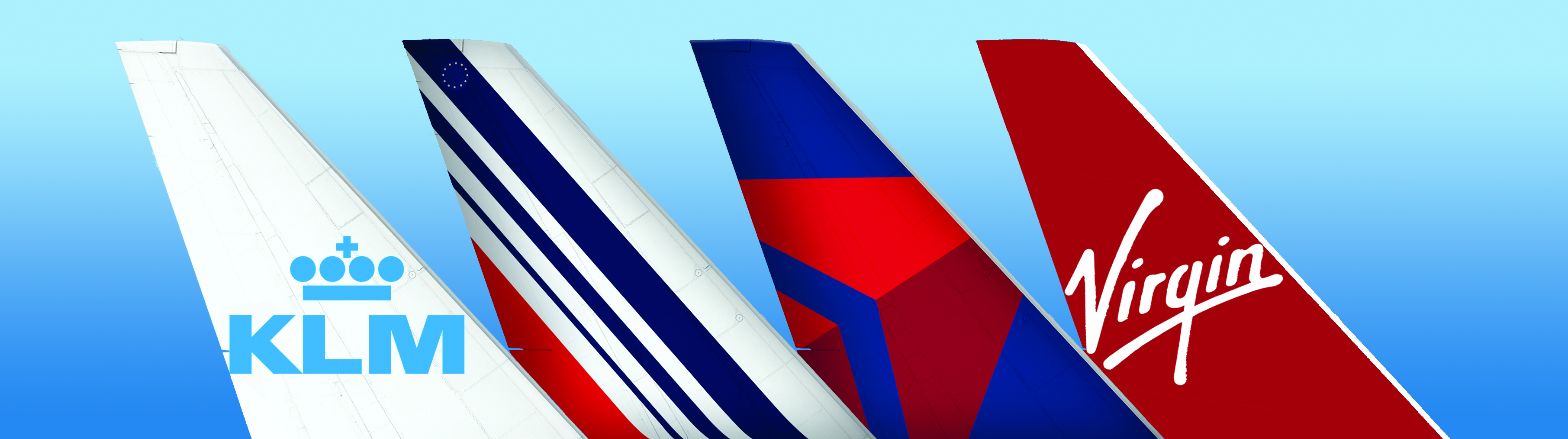 Airplane tails - KLM, Air France, Delta, Virgin Atlantic