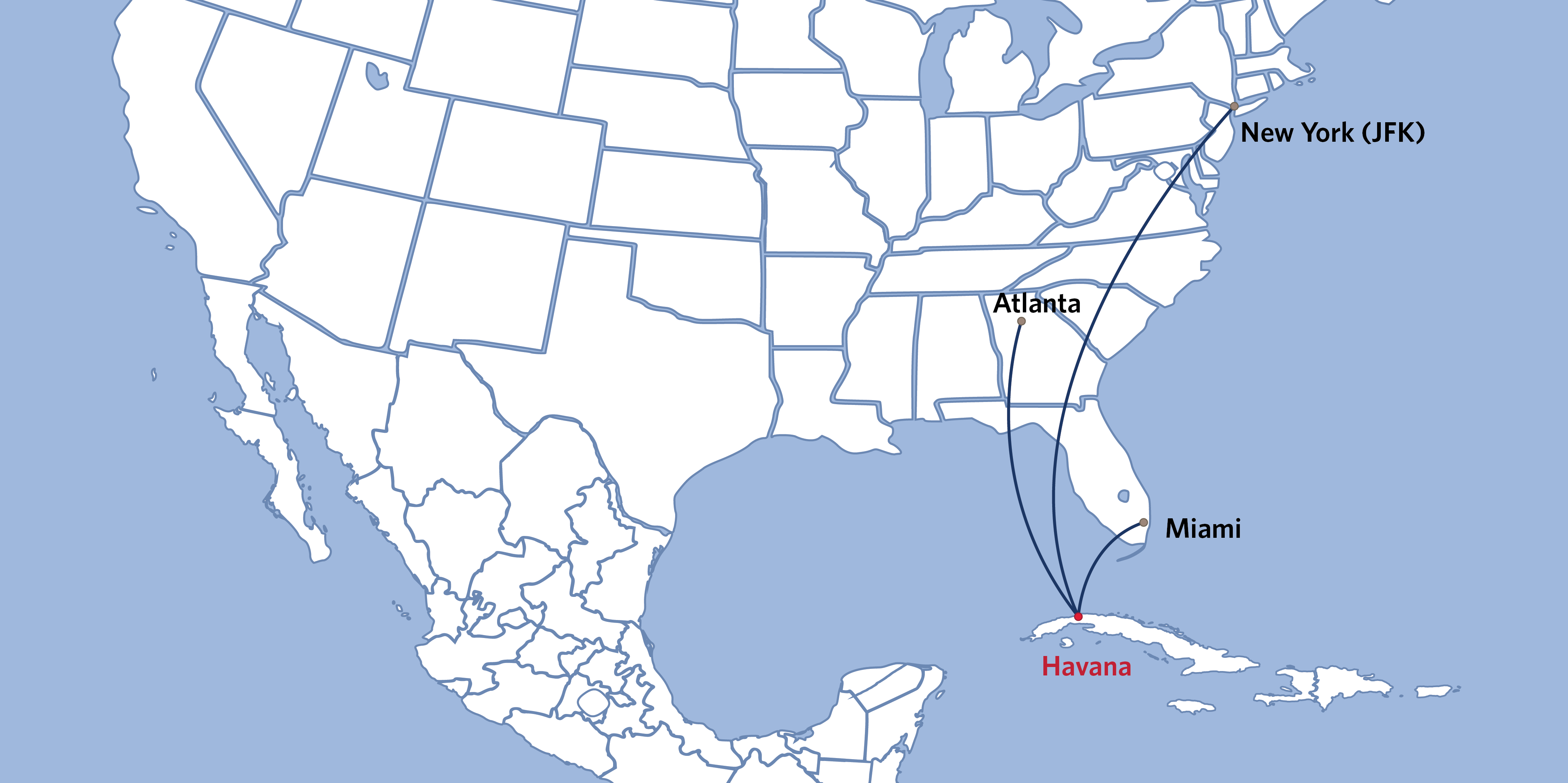 Delta Routes to Cuba Map