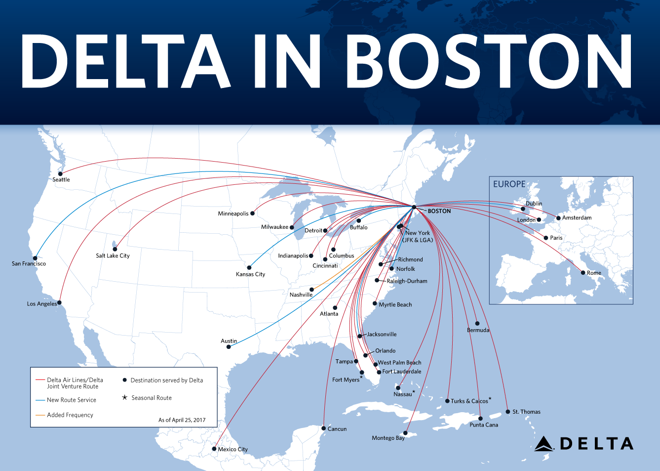 Delta Builds On Position As Leading Global Carrier In Boston - Delta us flight map