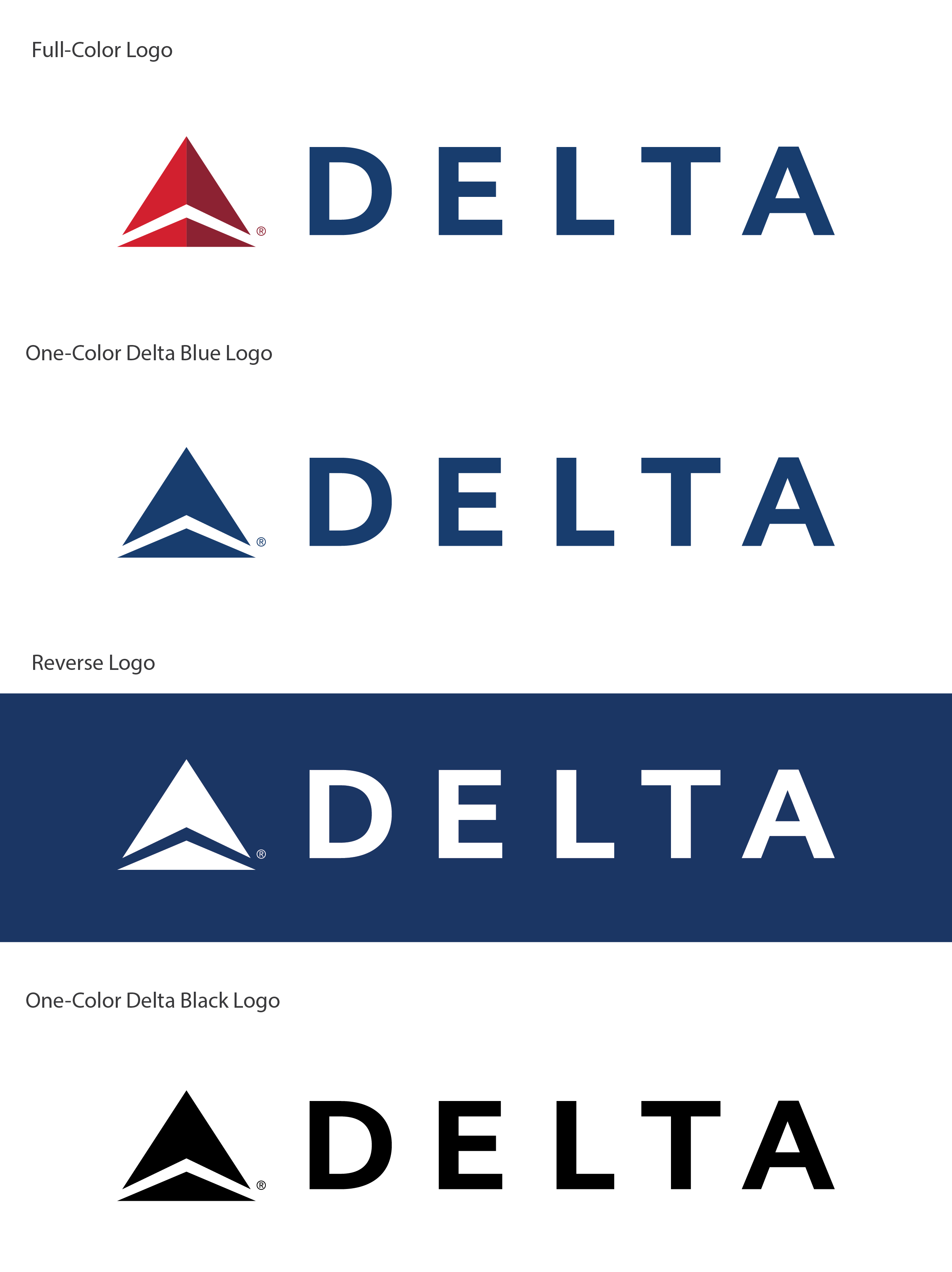 Delta logo color variations