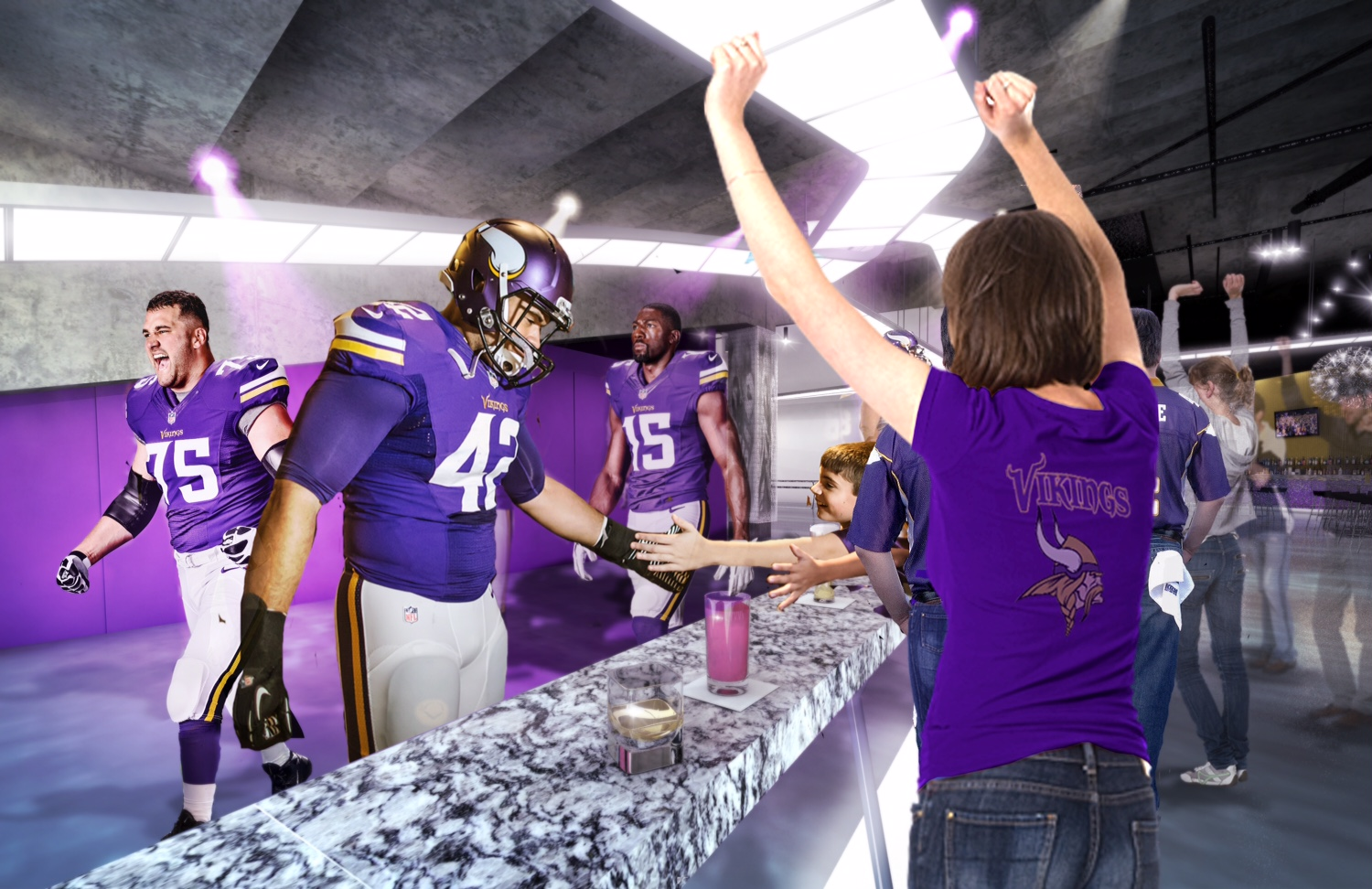 Vikings football players at the bar