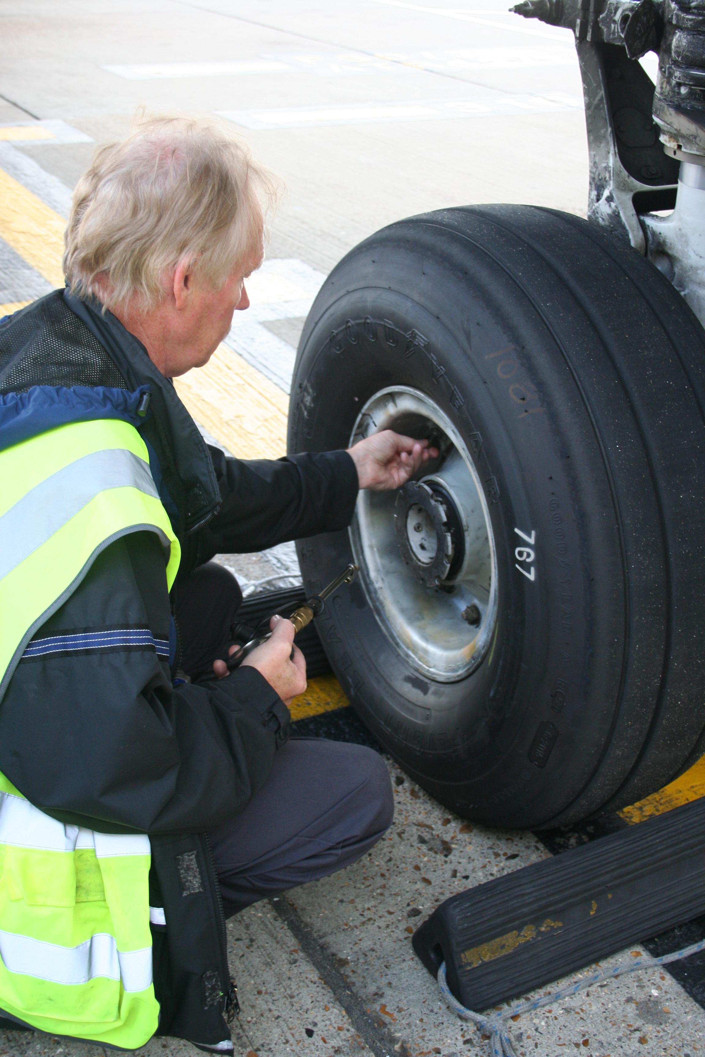 Man fixing a tire