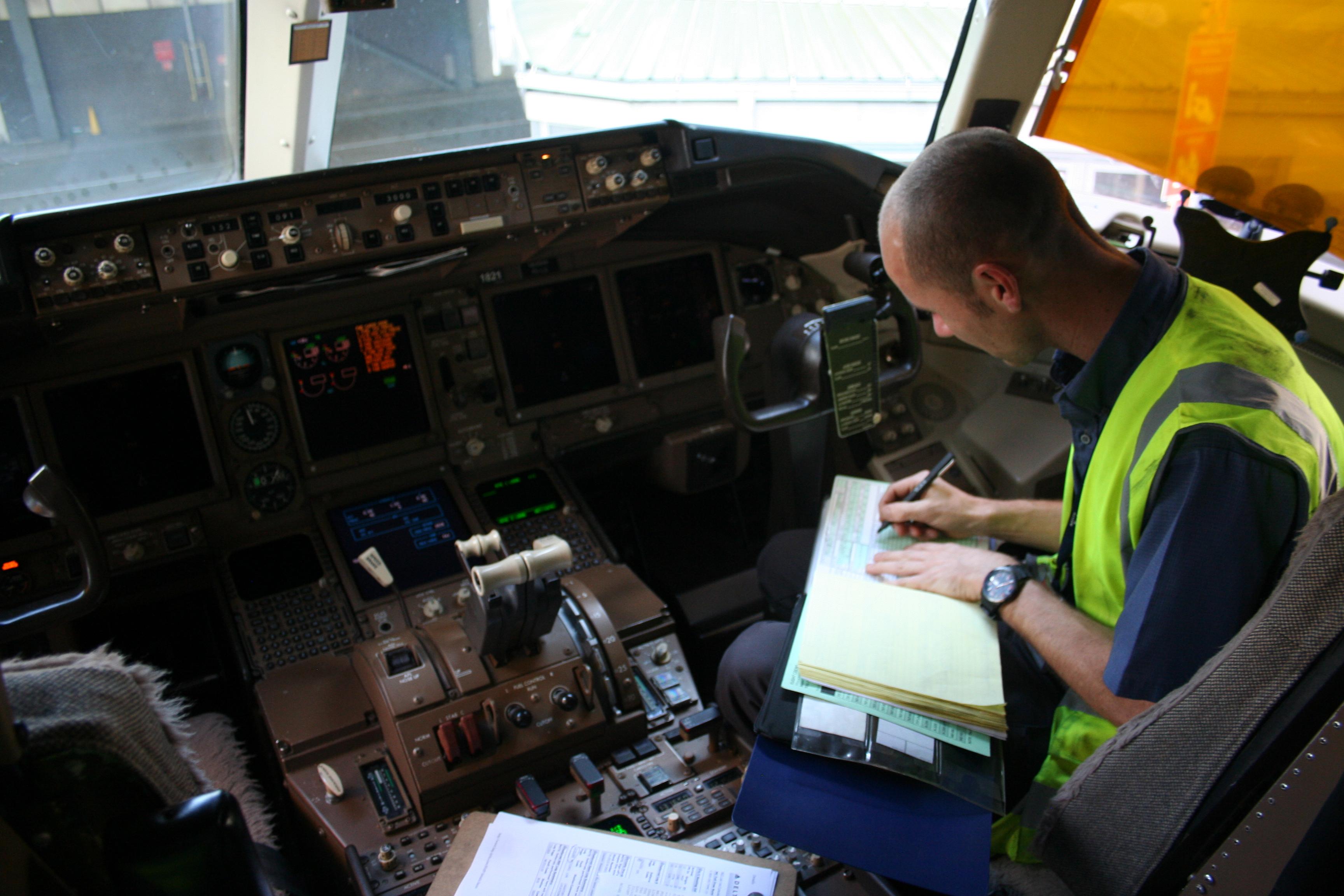 Man sitting in cockpit