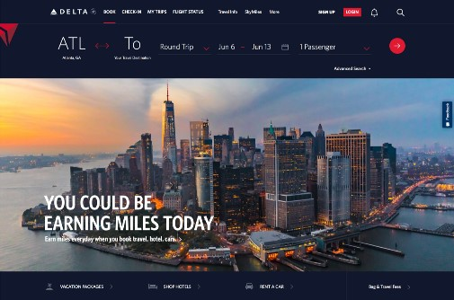 New Delta.com responsive homepage