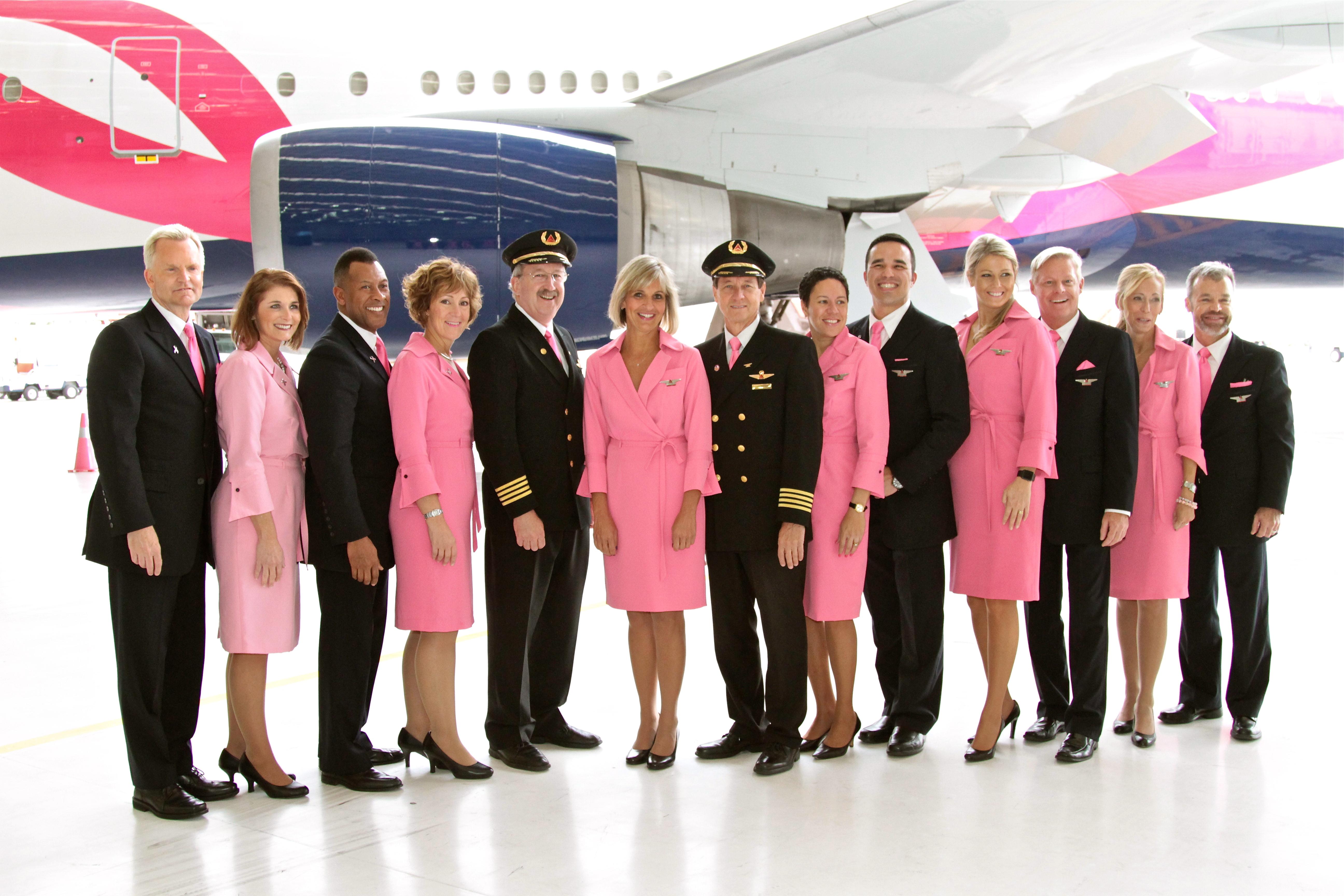 Flight Attendants in Pink Uniforms
