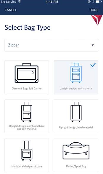 Roadie baggage delivery on Fly Delta app example
