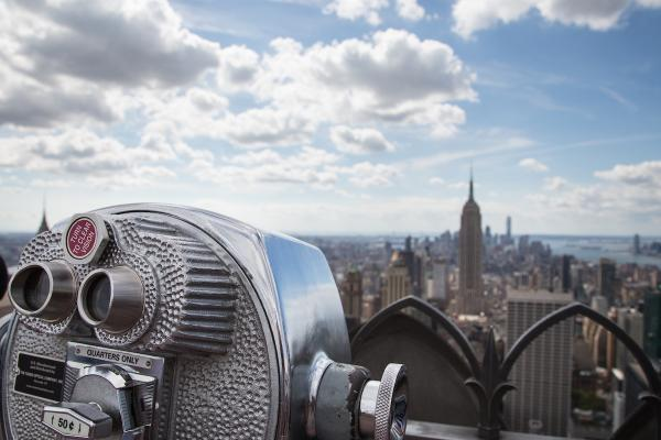 View of Midtown Manhattan New York City with coin-operated telescope