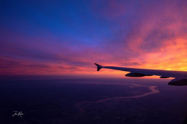 Aircraft winglet at sunrise