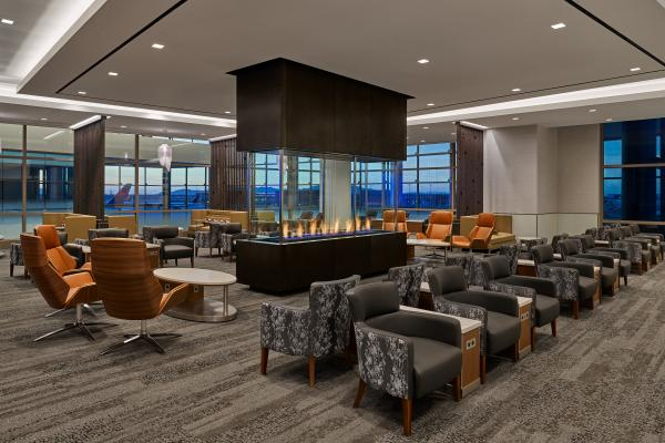 Delta Sky Club 360-degree fireplace at new SLC airport