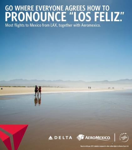 An ad from Delta's 'Dream Up, L.A.' campaign