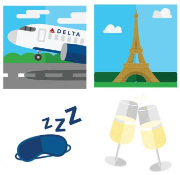 Sample of Delta Travel Stickers