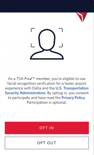 TSA facial recognition signage