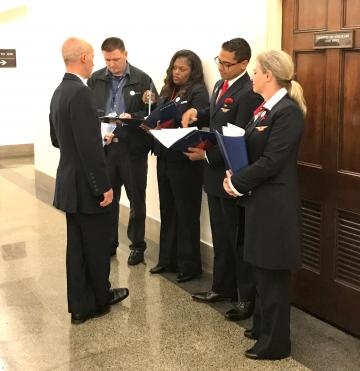 Employees strategize outside Congressional office