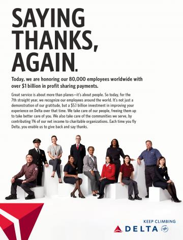 Delta thanks its employees for a successful 2016