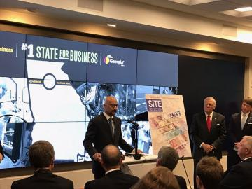 S.V.P. Rahul Samant shared Delta's perspective on the award at the press conference Monday where Gov. Deal accepted the distinction
