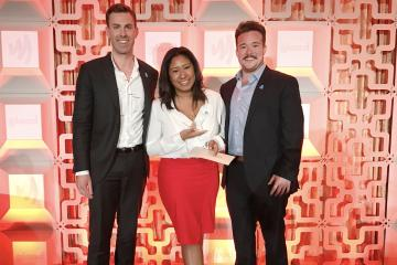 Kyle Hassell, Sales Account Executive – New York, Aisha Bibbs, GLAAD Rising Star grant recipient, and Survivor's Zeke Smith at the inaugural GLAAD Rising Stars Luncheon in New York at The New York Hilton on May 5.