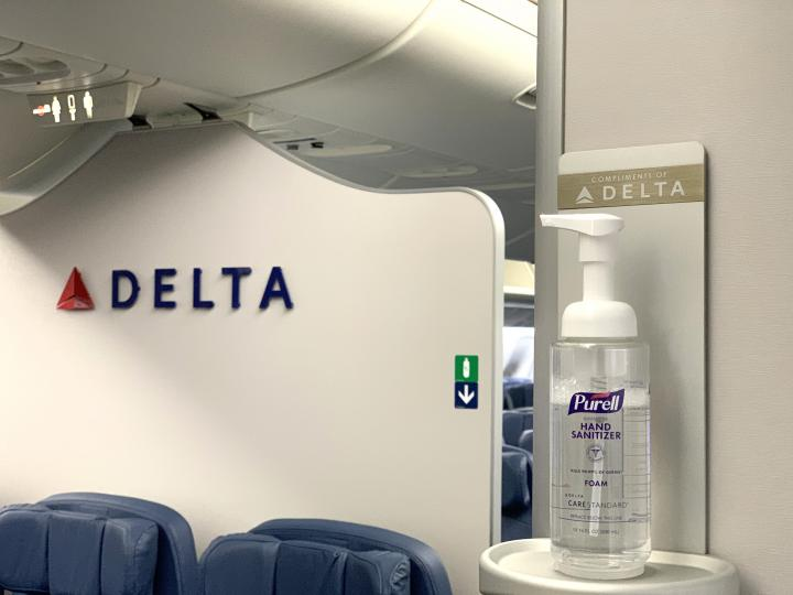 Hand sanitizer on Delta aircraft