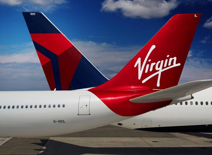 Virgin and Delta Tail of Aircraft
