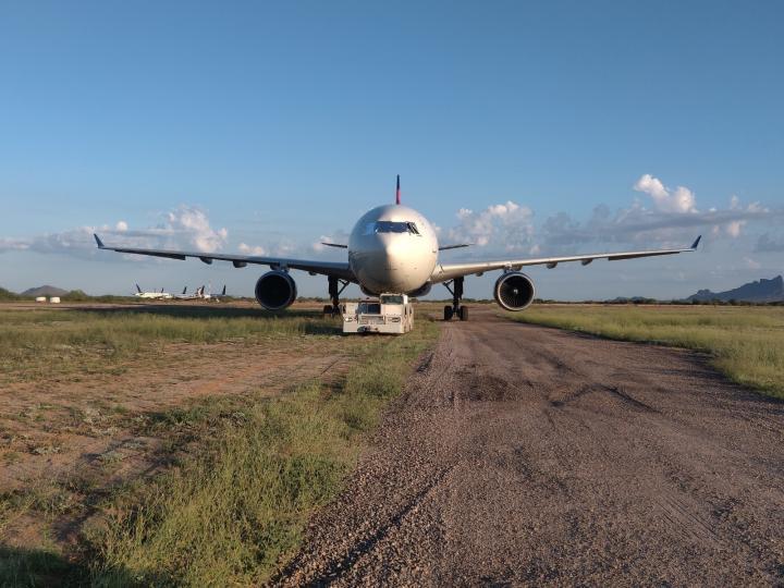 A plane is parked in Marana, Arizona.