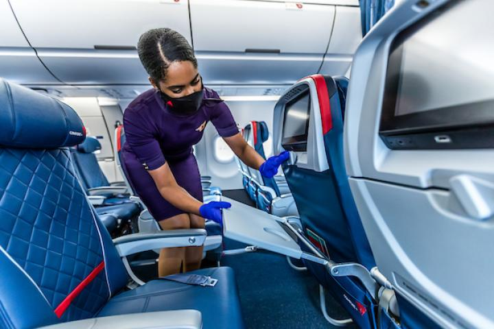 Flight attendant cleaning