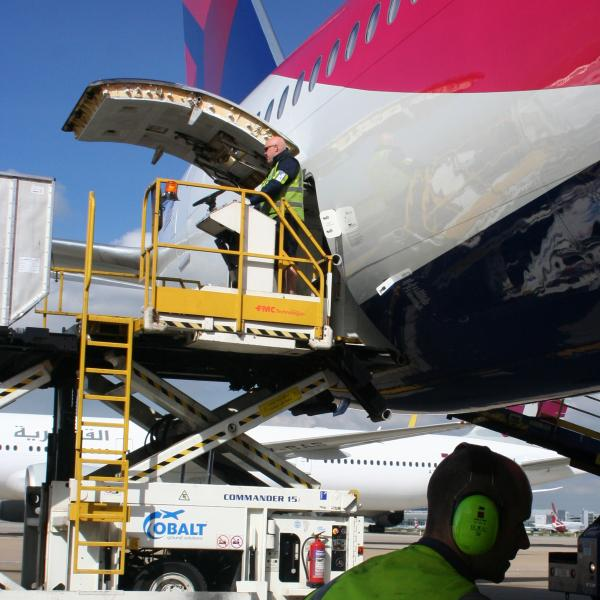 Man loading bags into the pink plane