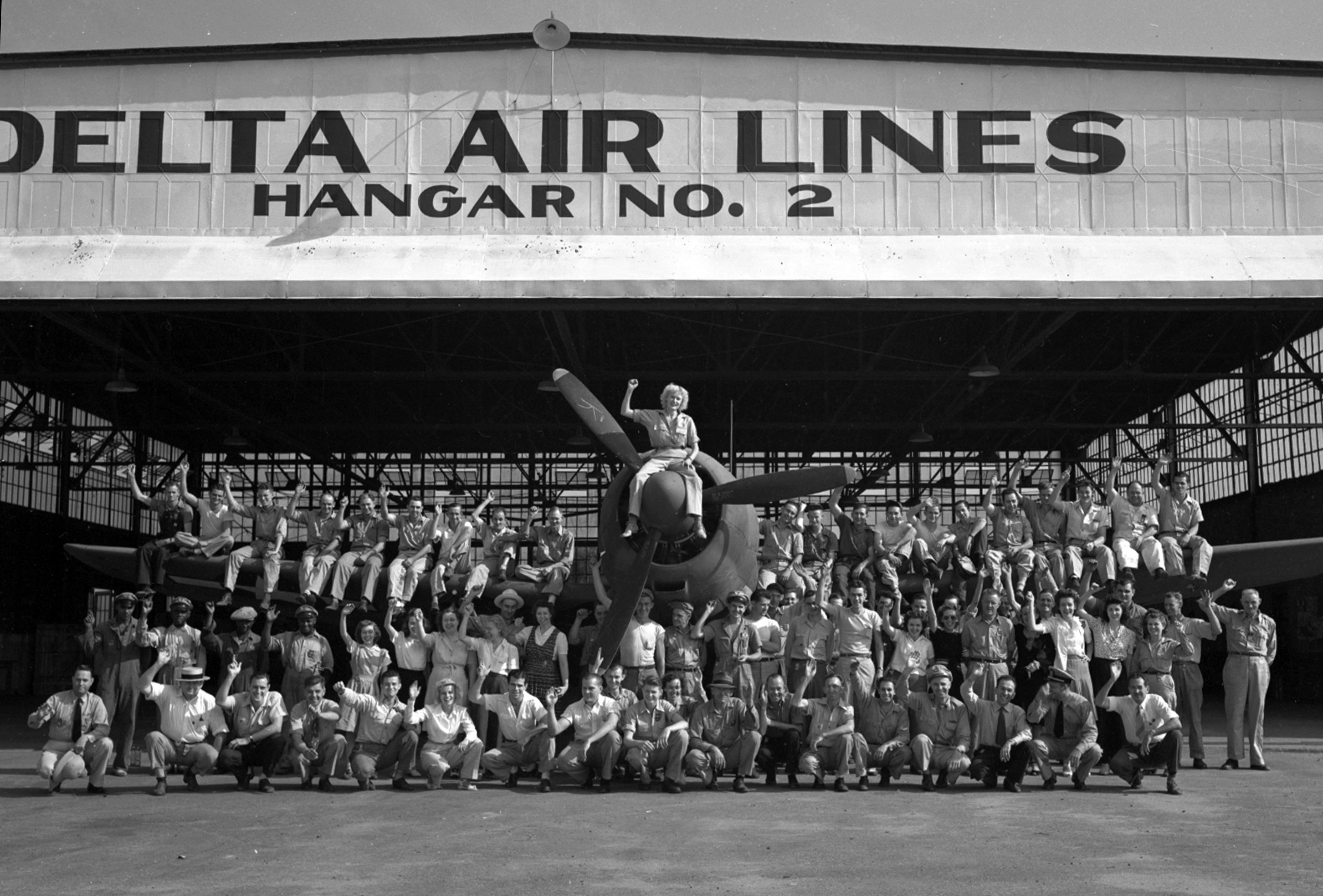 World War 2 Employees standing outside of hanger